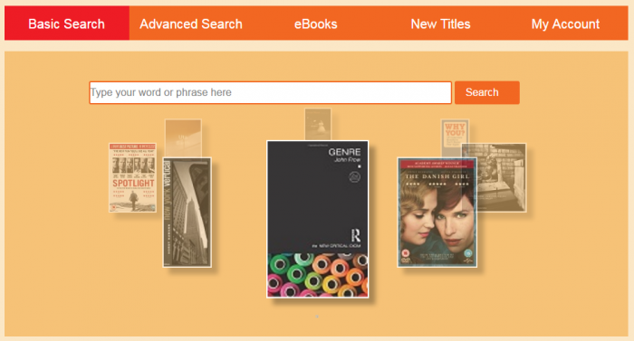 A screenshot of the homepage of the library catalogue. It shows the tabs for a basic search, advanced search, eBooks, New Titles and My Account. It also shows the search box and the image carousel.