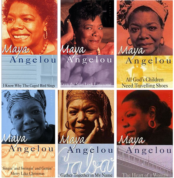 Set of book covers for books by Maya Angelou - 'I know whey the caged bird sings', 'Even the stars look lonesome', 'All God's children need travelling shoes', 'Singin and swingin and gettin merry like Christmas', 'Gather together in my name', and 'The heart of a woman'.