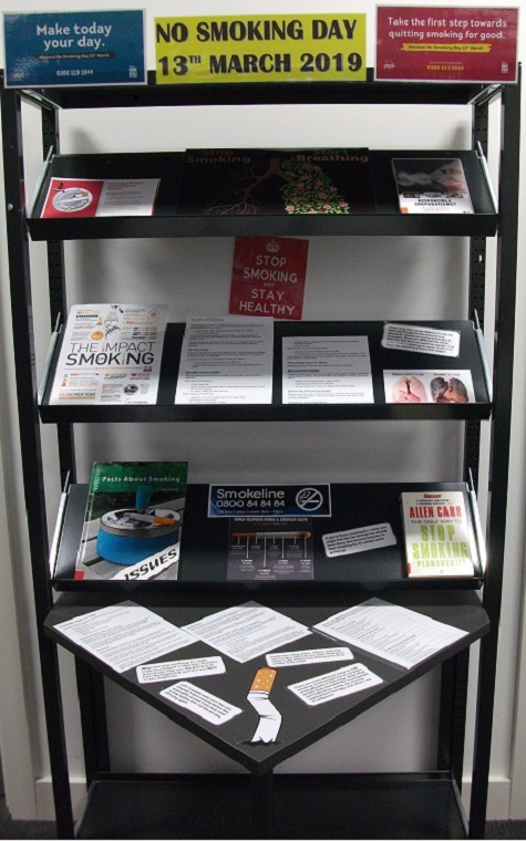 The Library's 'No Smoking Day 13th March 2019' display. Containing leaflets about the impact of smoking, advice on quitting and the book 'Stop Smoking Permanently' by Allen Carr.
