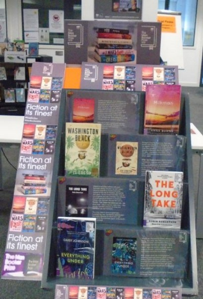 A library display of the 2019 Booker Prize shortlisted books. Including 'Washington Black', 'The Long Take' and the winning title 'Milkman'.