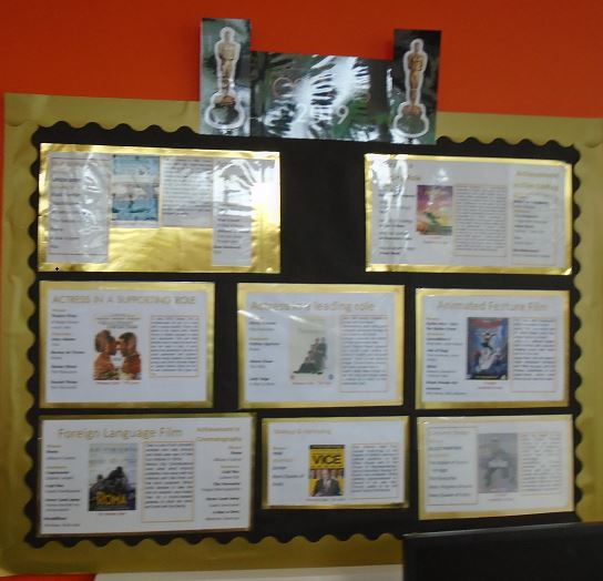 A display board covering the 2019 Oscar winning films available in the Library.