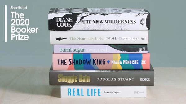 pile of books from the 2020 booker prize short list