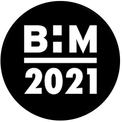 Black History Month logo. A black circle with B:M in white above 2021 in white.