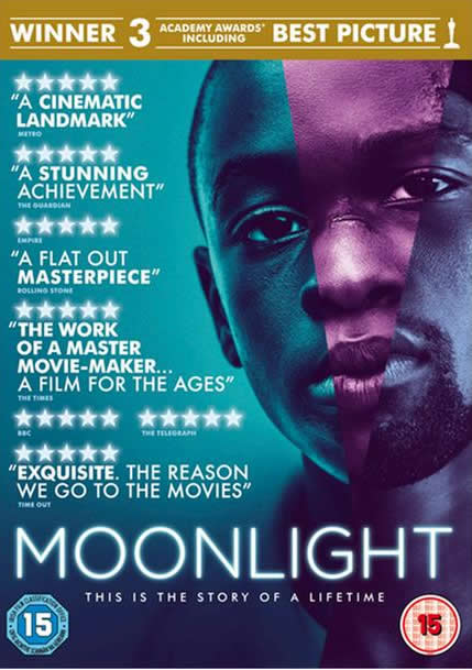 DVD cover - Moonlight - winner of Best Picture at the Academy Awards.